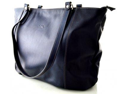 Velká kožená kabelka Katana - tmavě modrá