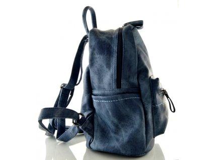 Koženkový batoh černo modrý