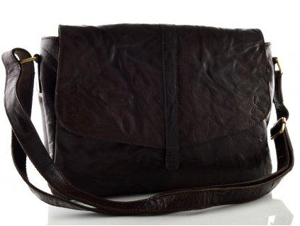 Dámská kožená kabelka z mačkané kůže - hnědá