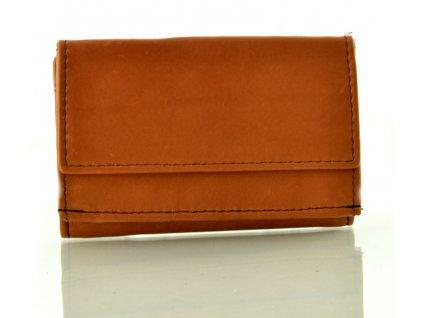Kožená mini peněženka - koňak