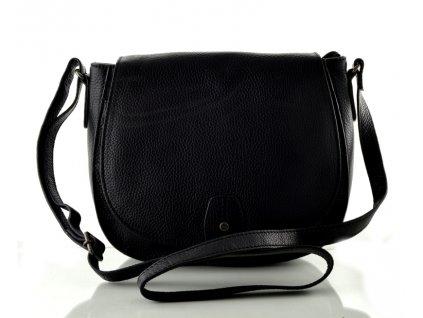Klopnová kožená kabelka - černá