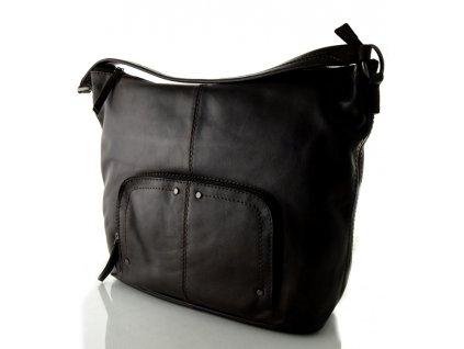 Velká kožená kabelka na rameno - hnědá