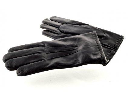 Pánské kožené rukavice černé barvy s podšívkou