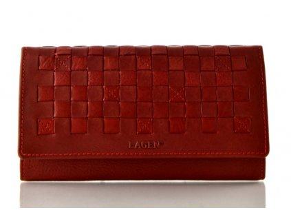 Červená dámská rámová kožená peněženka