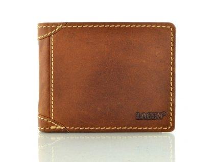Pánská kožená peněženka s prošíváním světle hnědá