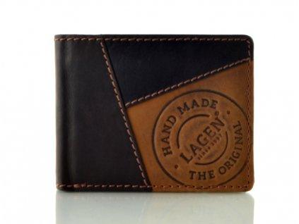 Prošívaná kožená peněženka - hnědá