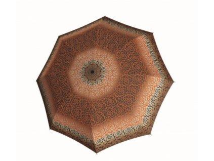 Deštník Doppler Mini Fiber Classic - hnědooranžový vzor