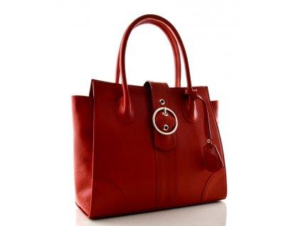Kožená kabelka se sponou Sněžka Náchod - červená