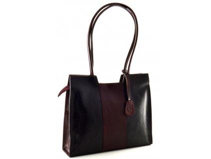 Kožená kabelka Silvercase - černorubínová