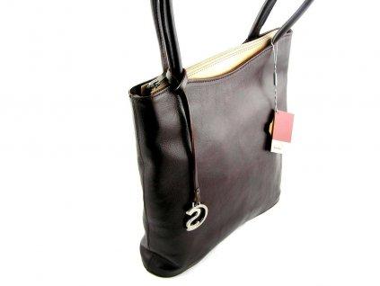 Vysoká kožená kabelka Silvercase - hnědá