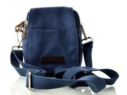 Menší taštička přes rameno i na opasek Katana z pevného textilu - modrá