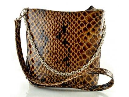 Malá elegantní kabelka Silvercase - hnědá kroko