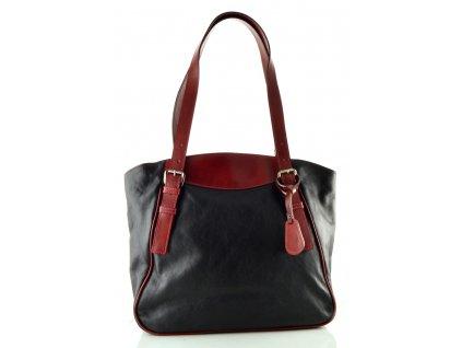 Dvoubarevná kožená kabelka Silvercase - černovínová