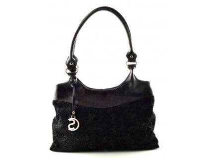 Kožená kabelka s ražbou Silvercase - černá