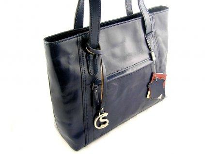 Nadčasová kožená kabelka Silvercase - tmavě modrá
