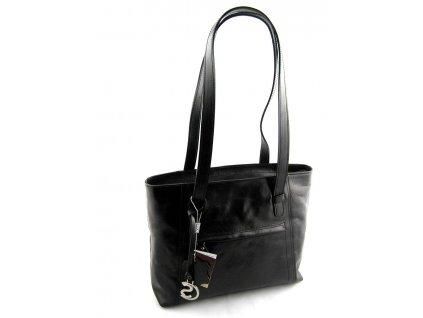 Nadčasová kožená kabelka Silvercase - černá