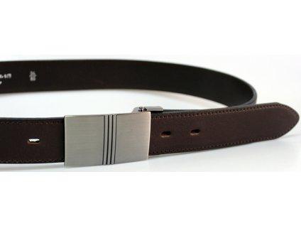 Společenský tmavě hnědý kožený opasek s plnou sponou - Penny Belts