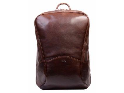 Vysoký kožený batoh Hajn - tmavě hnědý