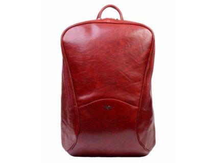 Vysoký kožený batoh Hajn - vínový