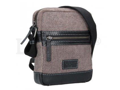 Menší koženo-textilní taška přes rameno - šedá