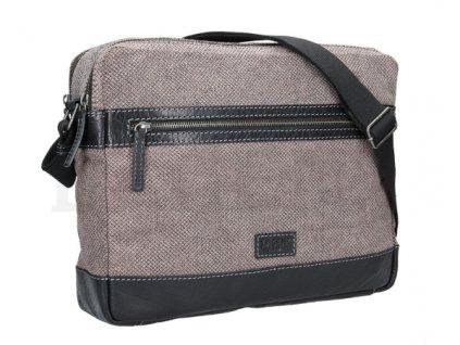 Koženo-textilní messenger - šedý