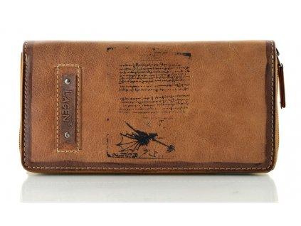 Hnědá kožená penálová peněženka Lagen