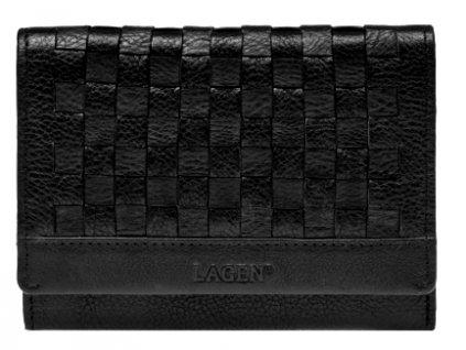 Černá dámská kožená peněženka s kostičkovým vzorem