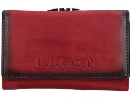 Červená rámová kožená peněženka Lagen