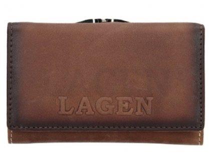 Hnědá rámová kožená peněženka Lagen