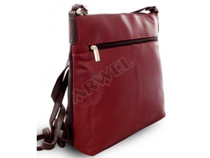 Kožená zipová kabelka Arwel černo vínová
