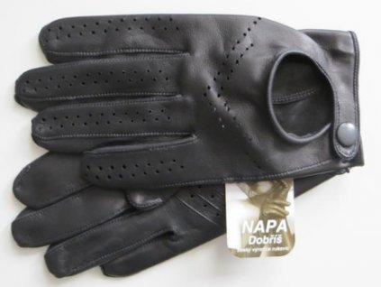 Kožené řidičské rukavice - černé