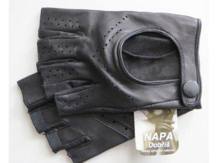 Kožené bezprsté řidičské rukavice - černé
