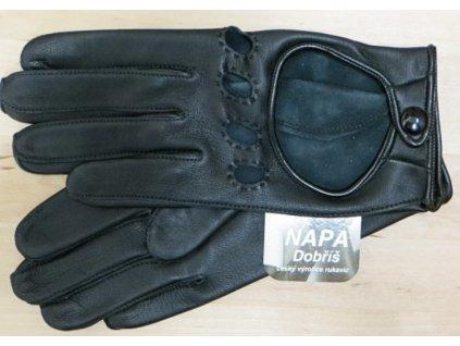 Dámské kožené řidičské rukavice-černé
