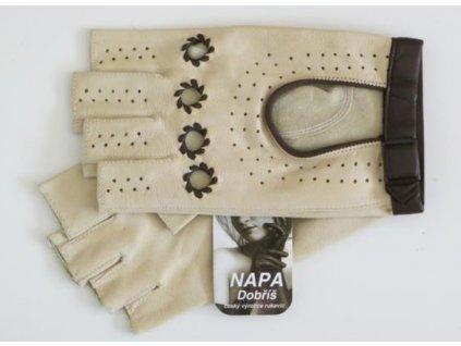 Dámské kožené bezprsté řidičské rukavice - béžové