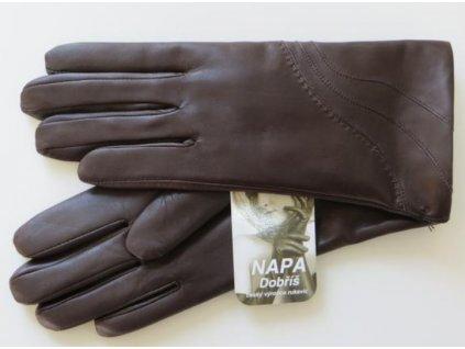 Kožená dámské rukavice Napa - hnědé