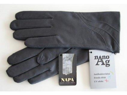 Kožená dámské rukavice s antibakteriální podšívkou Napa  - šedé