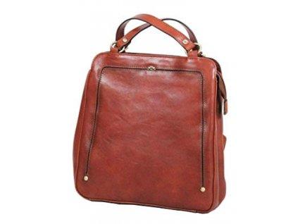 Kožený kabelko-batůžek Katana - tmavě hnědo rezavá
