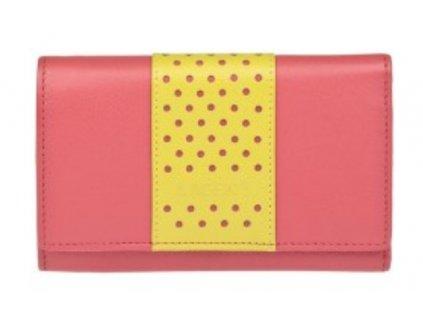 Luxusní kožená peněženka Lagen - korálovo citronová