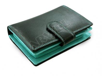 Kožená peněženka Arwel s přezkou - černootyrkysová