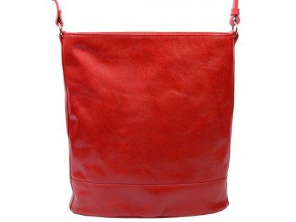 Kožená taška přes rameno Hajn - červená flamengo