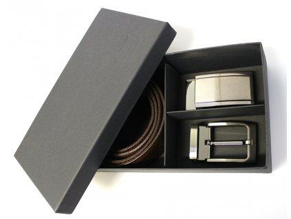 Dárkový set s tmavě hnědým koženým opaskem - Penny Belts