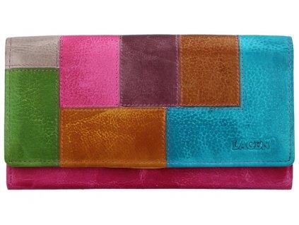 Luxusní kožená peněženka Lagen - barevná FUCHSIA