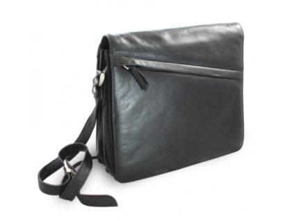 Kožená klopnová kabelka přes rameno - černá