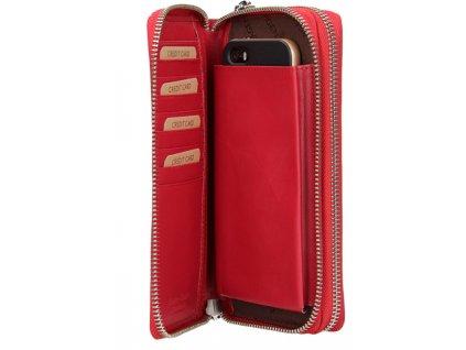 Kožená dvoupenálová peněženka Lagen - červená