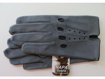Kožené řidičské rukavice šedé