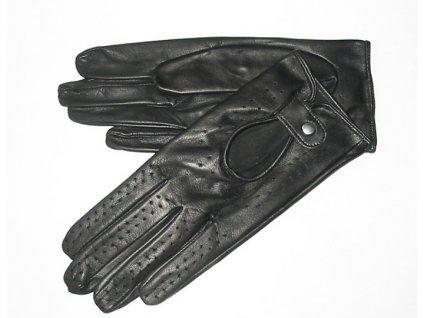 Dámské kožené řidičské rukavice - černé