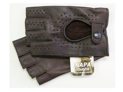 Pánské kožené bezprsté rukavice Napa pro řidiče - černé