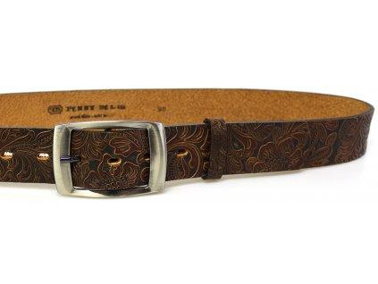 Hnědý vzorovaný kožený dámský opasek - Penny Belts