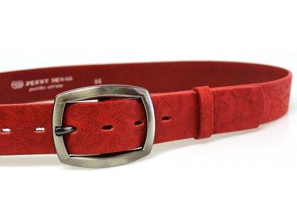 Červený vzorovaný kožený dámský opasek - Penny Belts