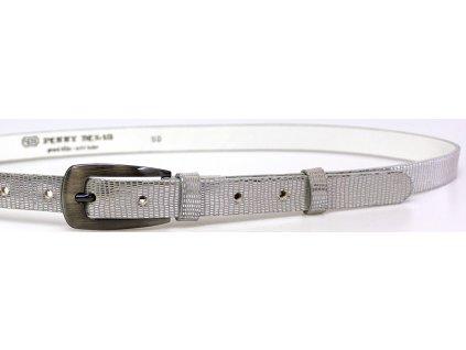 Dámský kožený opasek stříbrný metal- Penny Belts